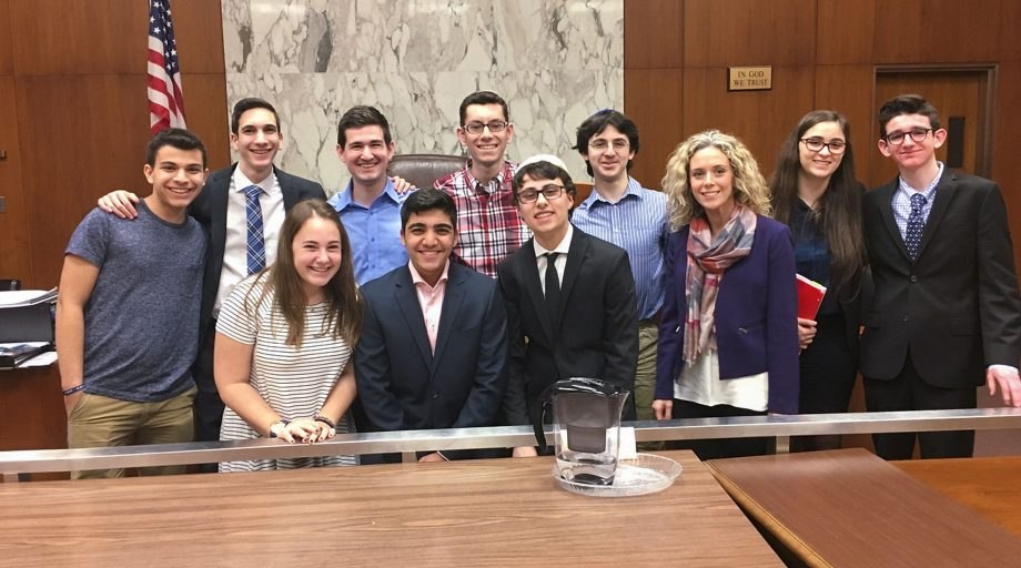 High school students participating in mock trial